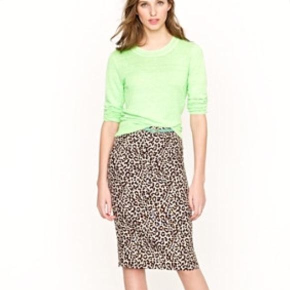 585d4b0ad5 J. Crew Skirts | J Crew No 2 Linen Pencil Skirt In Animal Print ...